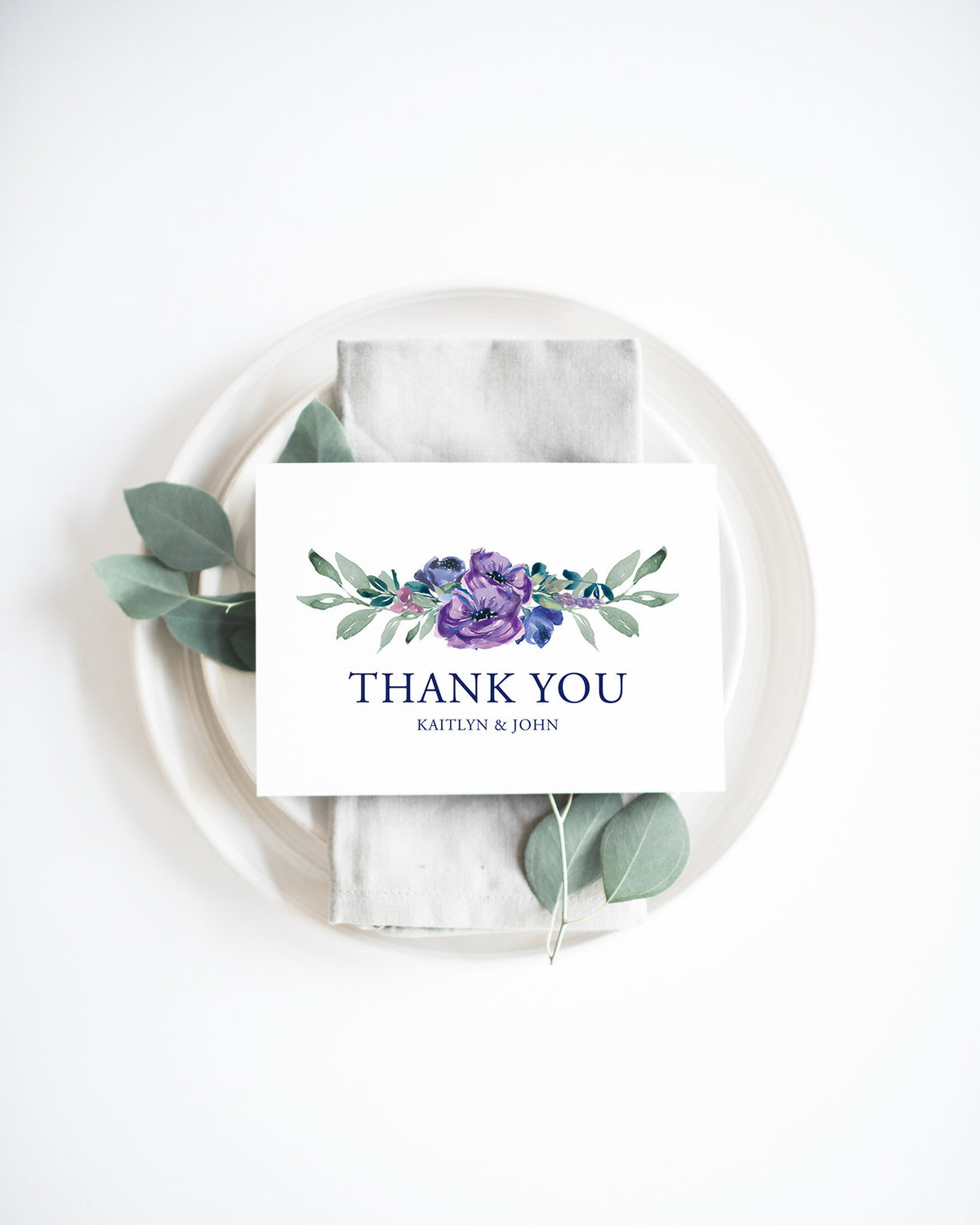 personalized purple flower thank you card mockup