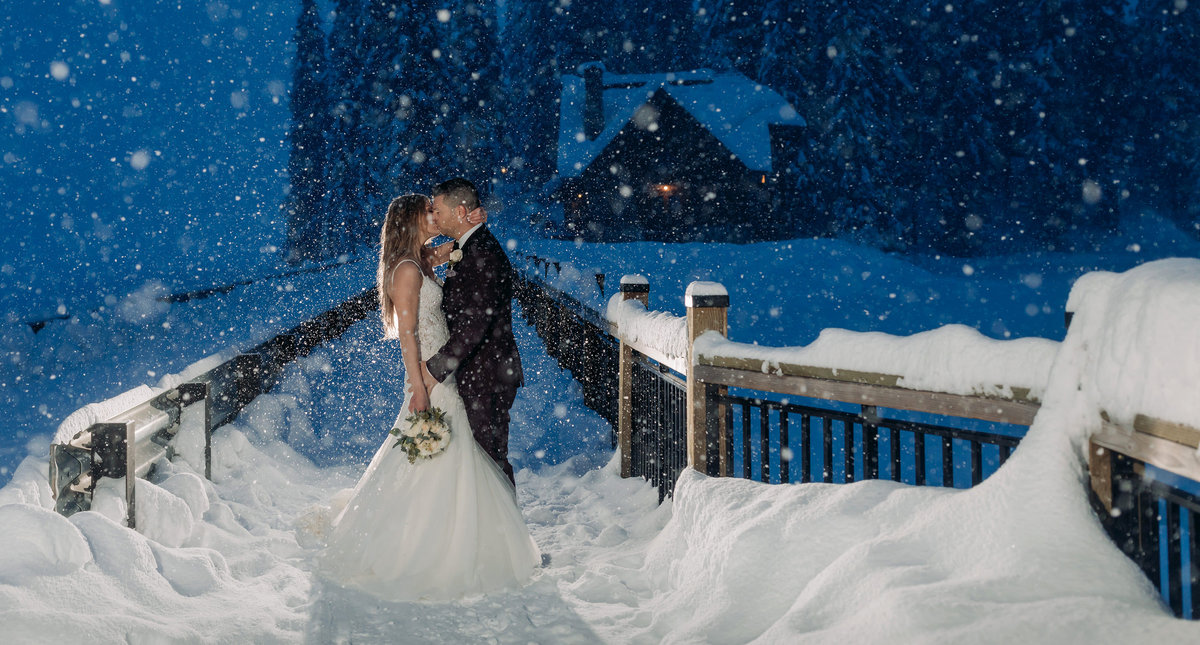 epic winter wonderland elopement wedding emerald lake lodge