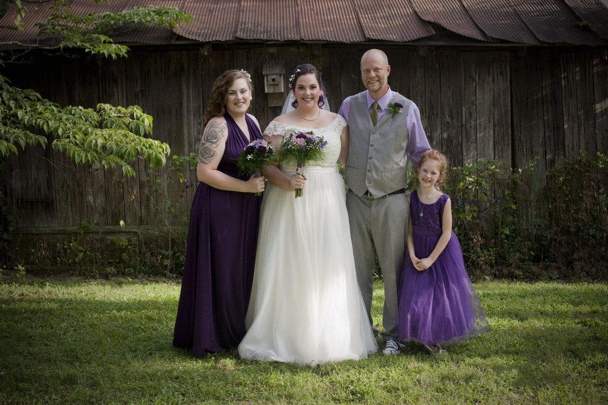 Bridal party wearing deep purple