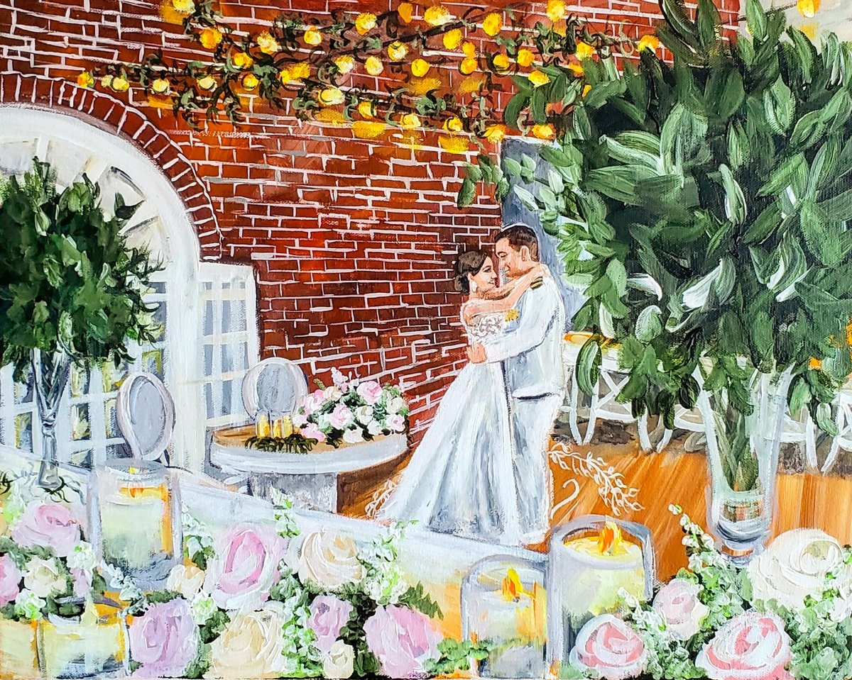 Live painting of a bride and sailor sharing their first dance in Annapolis Maryland
