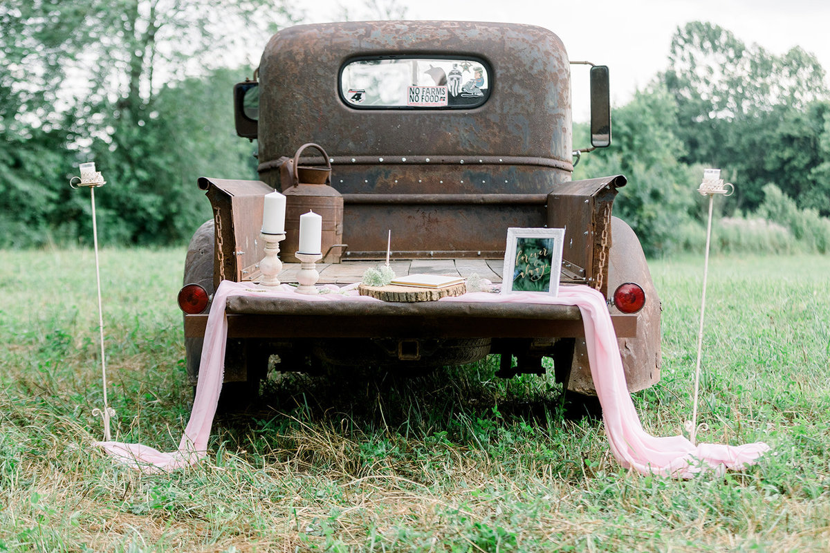 Antique truck with wedding details