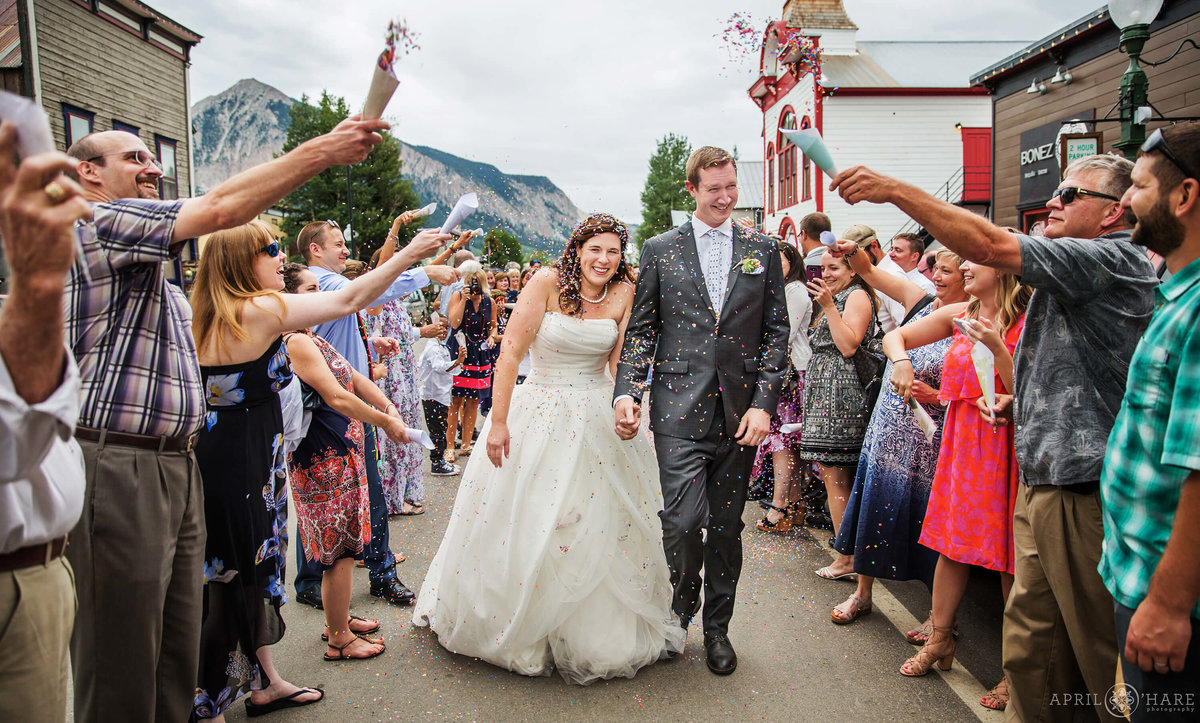Fun Grand Exit Wedding Photography on Elk Avenue in Crested Butte Colorado