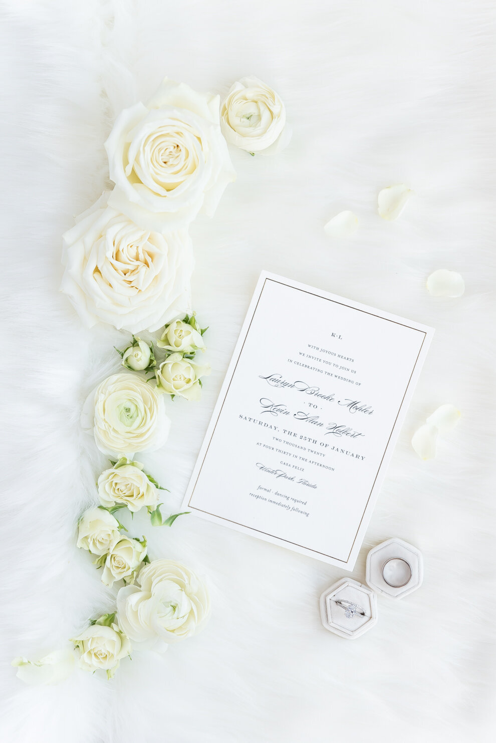 Wedding Invitation white  with white flowers and a ring