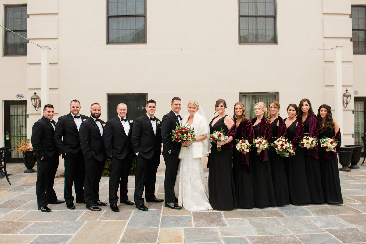 Bridal party outside of The Inn at Fox Hollow