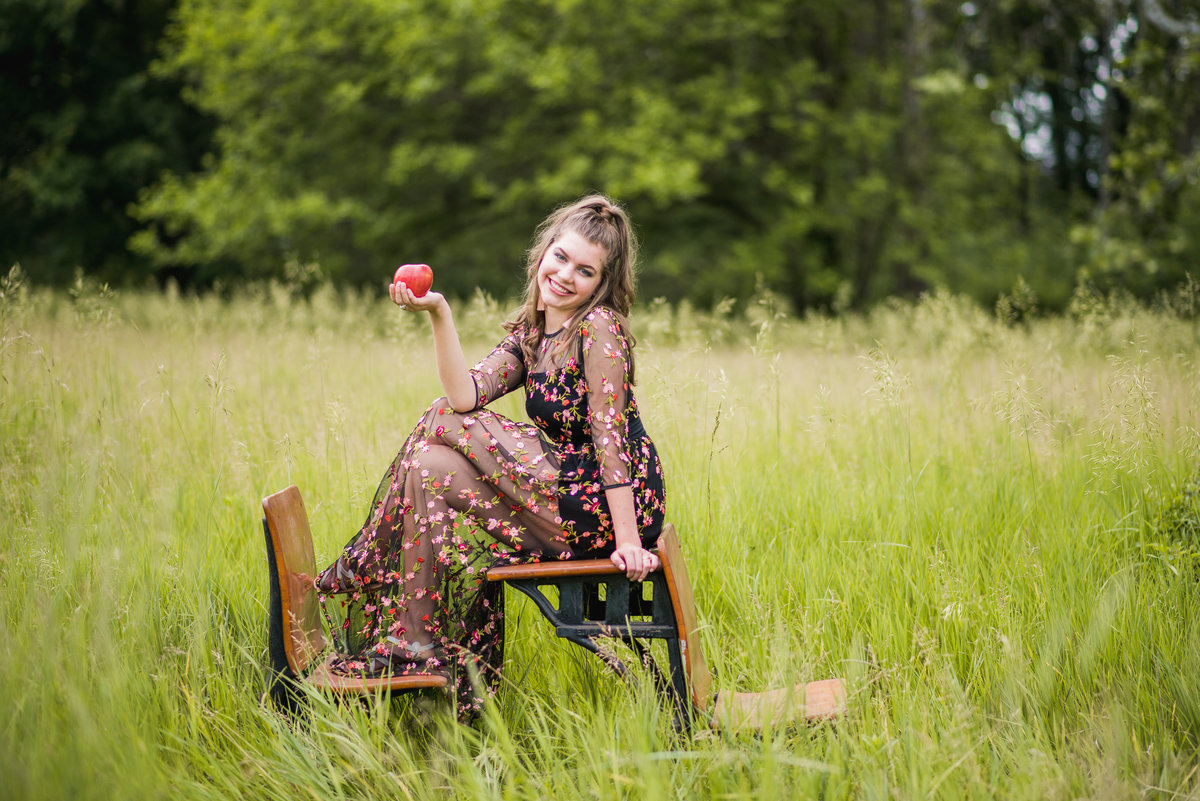 Senior Session Girl old school desks in open field