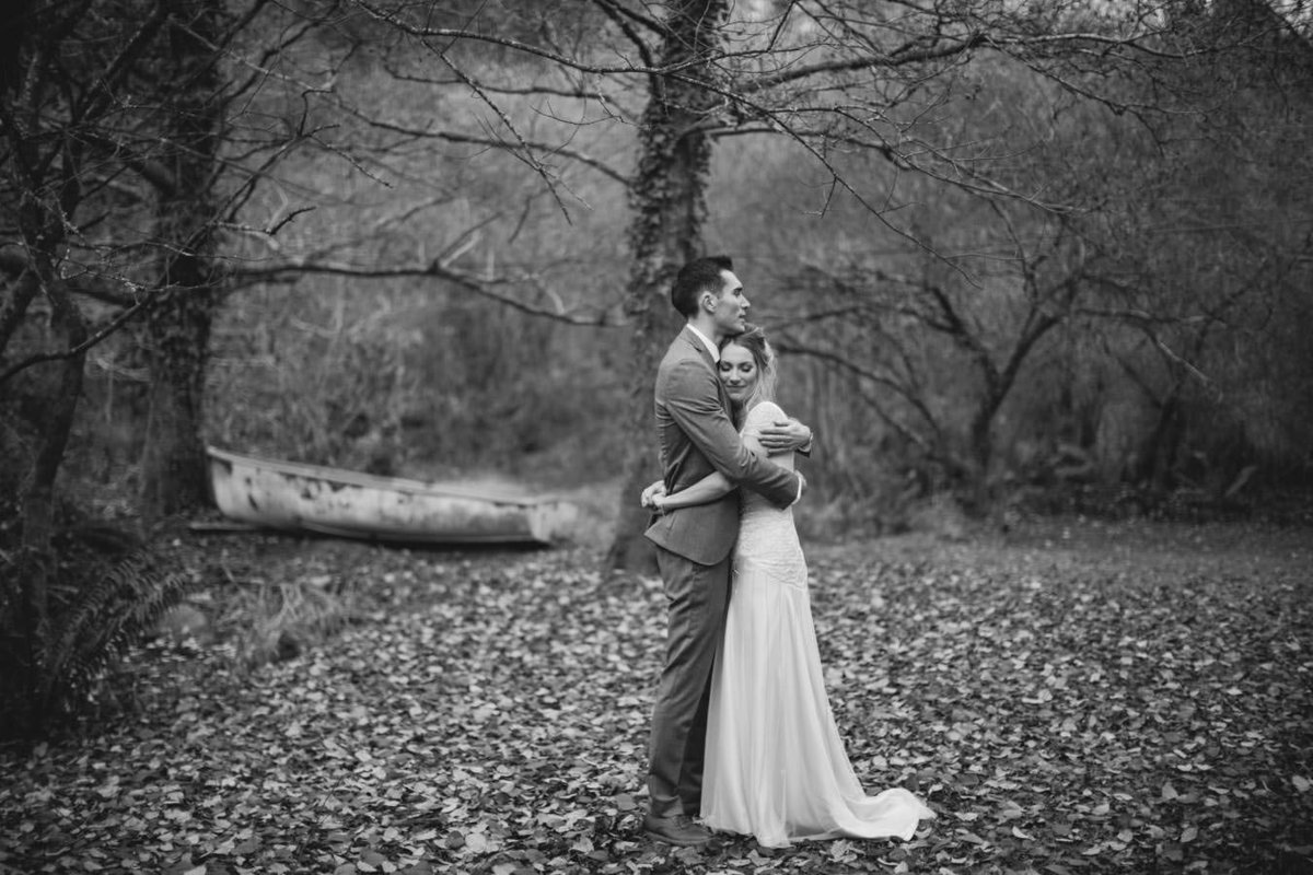Black and white wedding photo at The Green in Cornwall