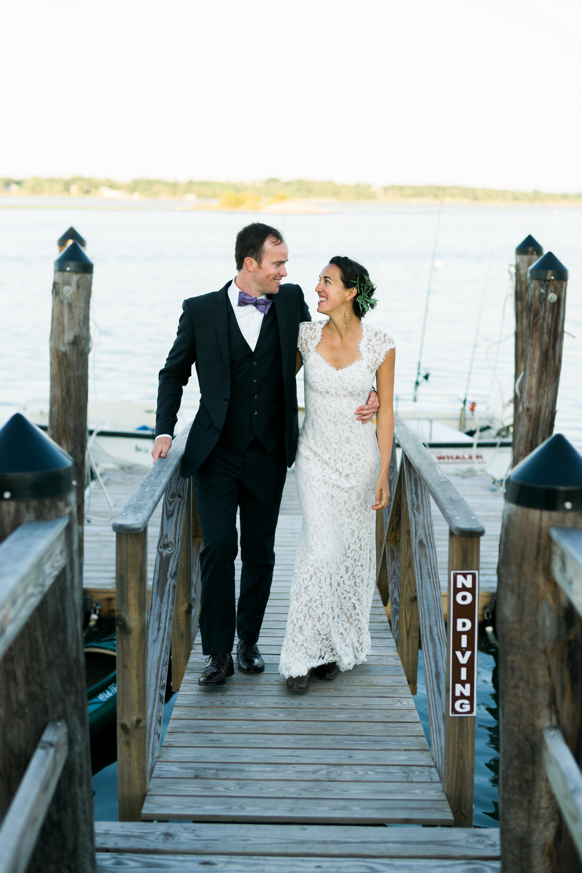 Bride and Groom photo on dock