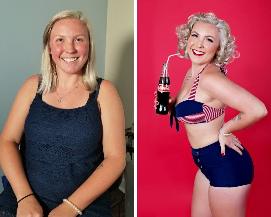 hair and makeup before and after image  for Boudoir & Pinup by Janet Lynn. Woman in a blue and red bathing suit posing with a vintage coke bottle