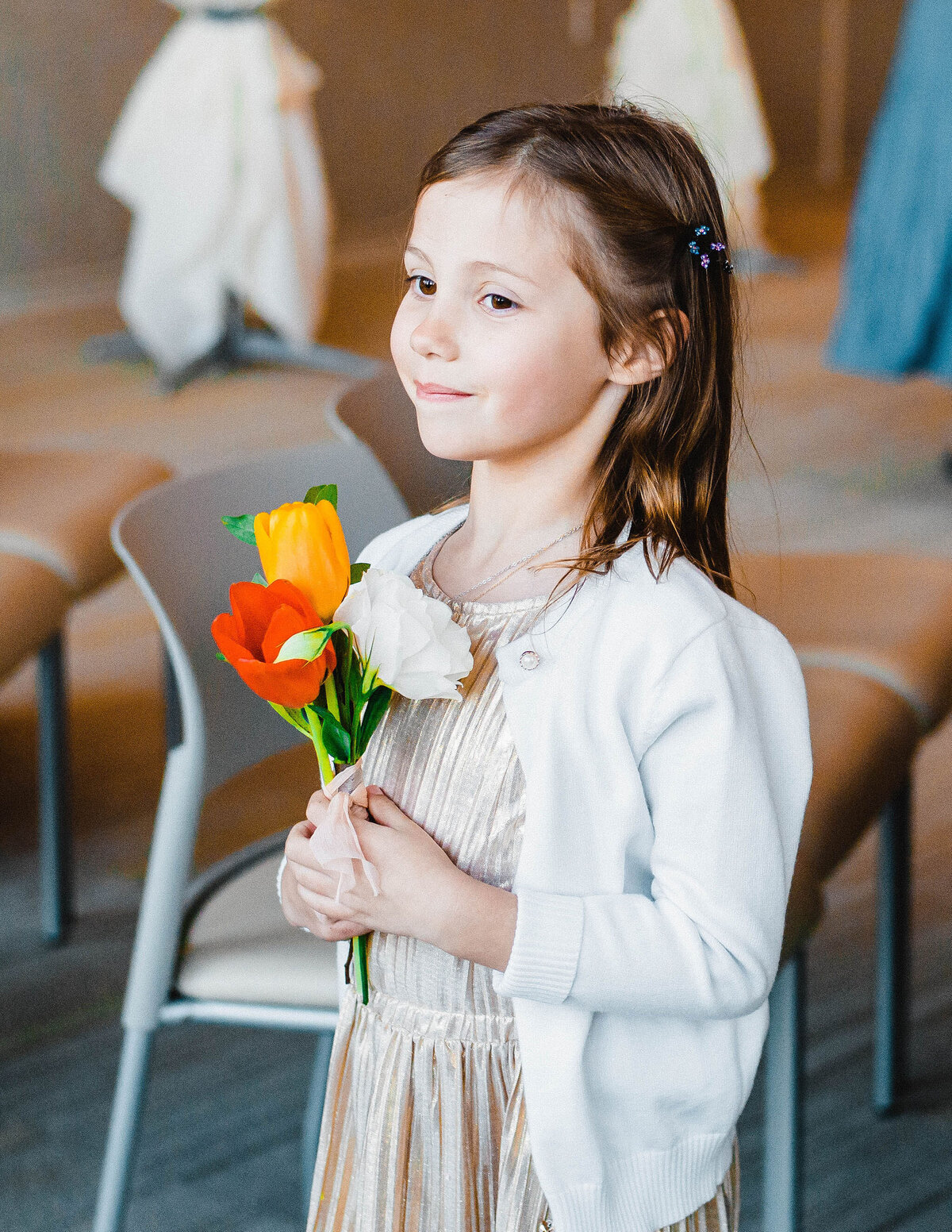 flower girl with tulips