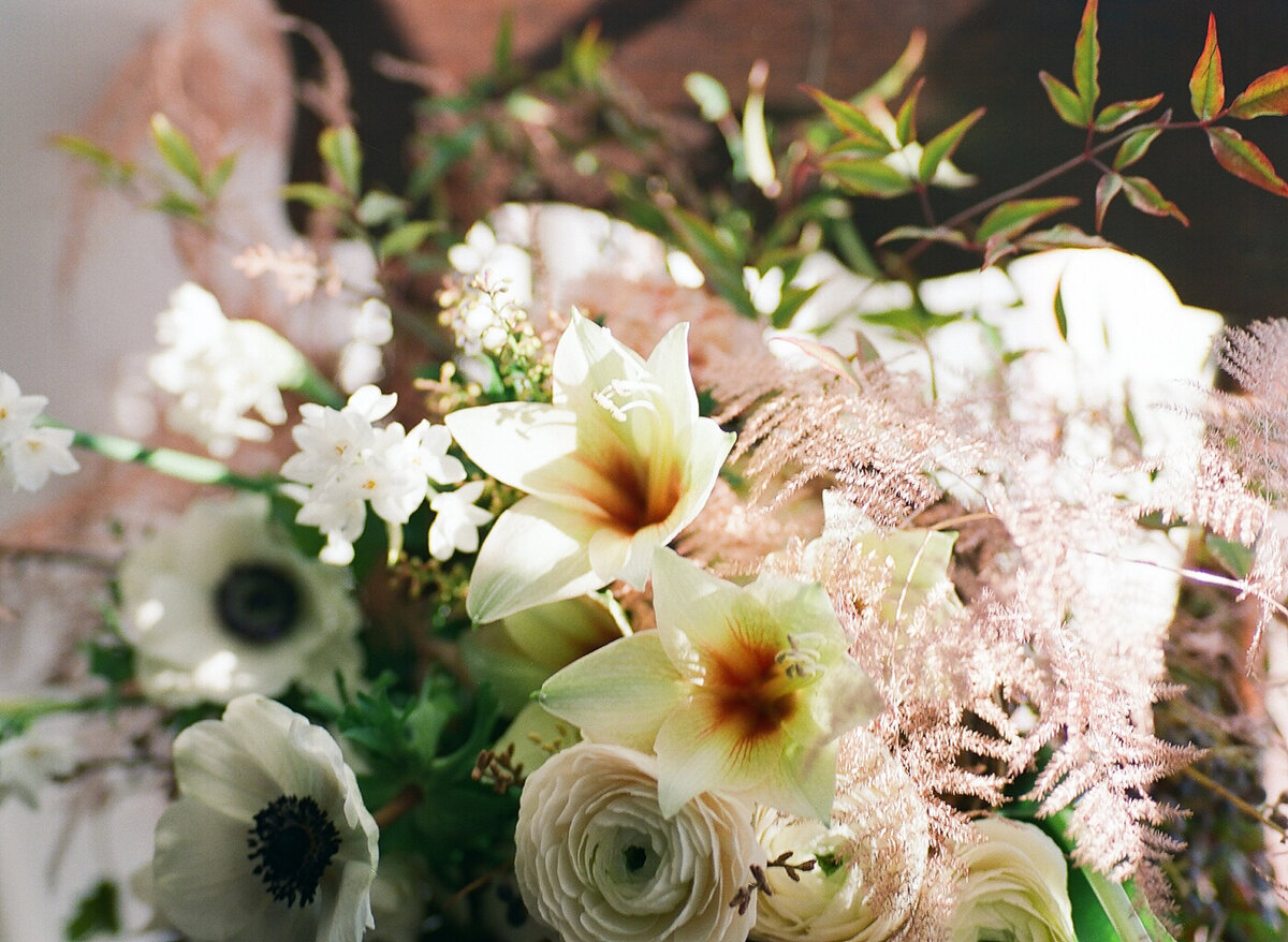 Close up of flowers in wedding centerpiece