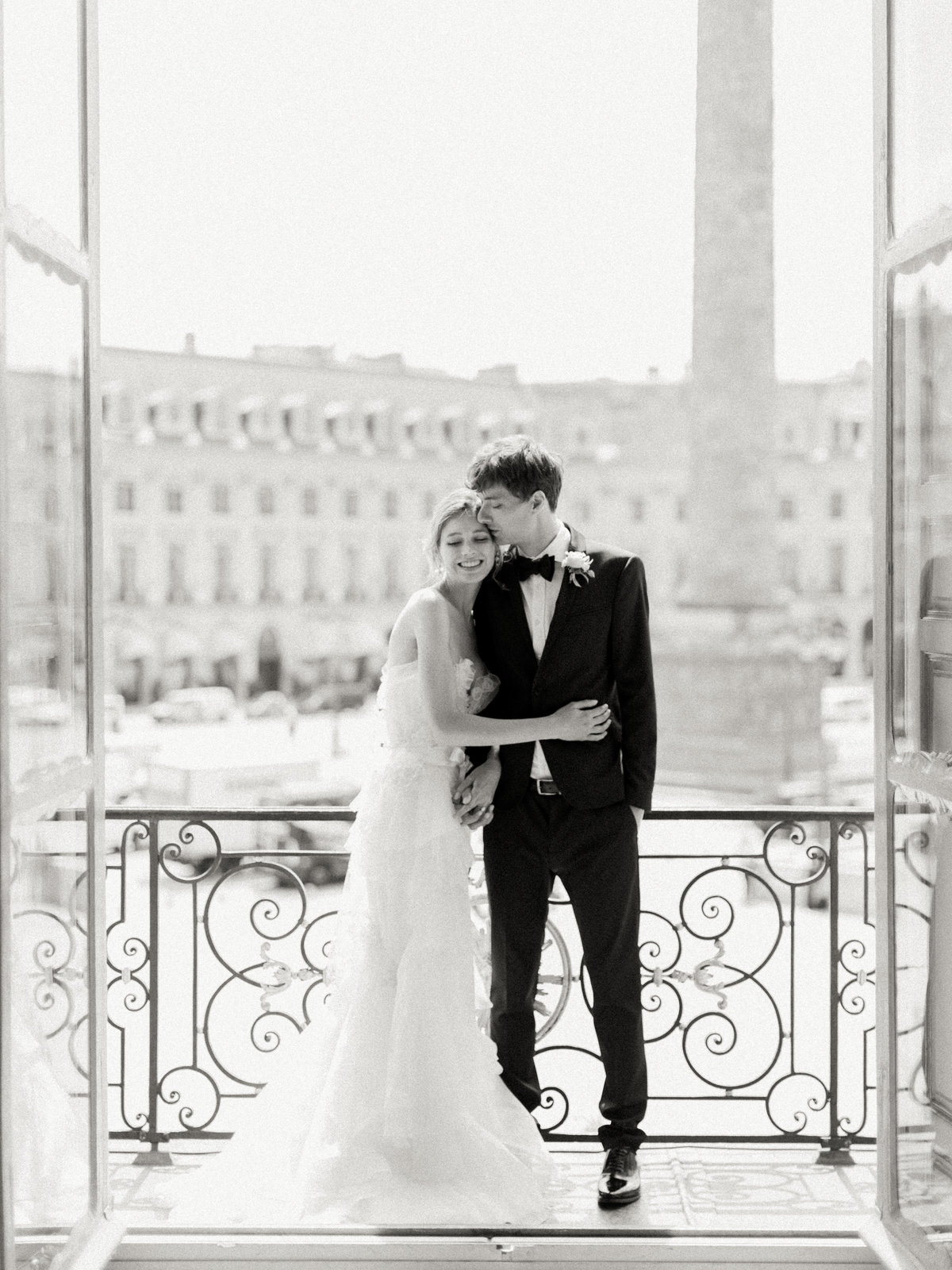 Bride and Groom-Parisian Wedding at Hotel D'Evreux