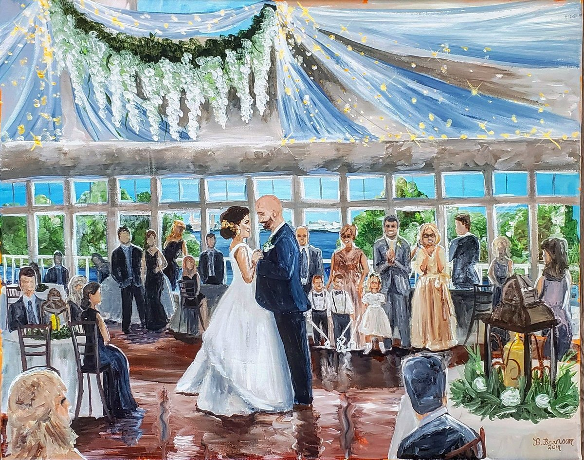 Live painting of a bride and groom sharing their first dance at the Ocean Pines Yacht Club outside Annapolis Maryland