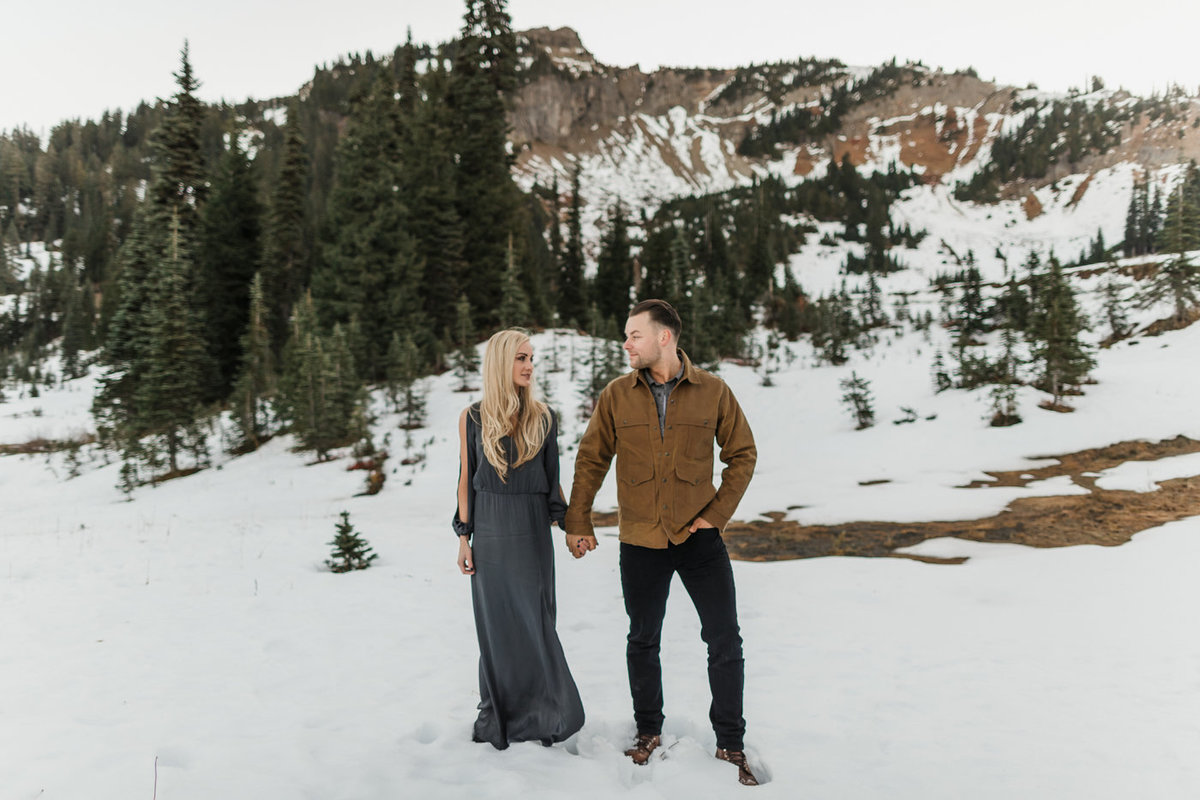 Snowy Mount Rainier Engagement Photos-19