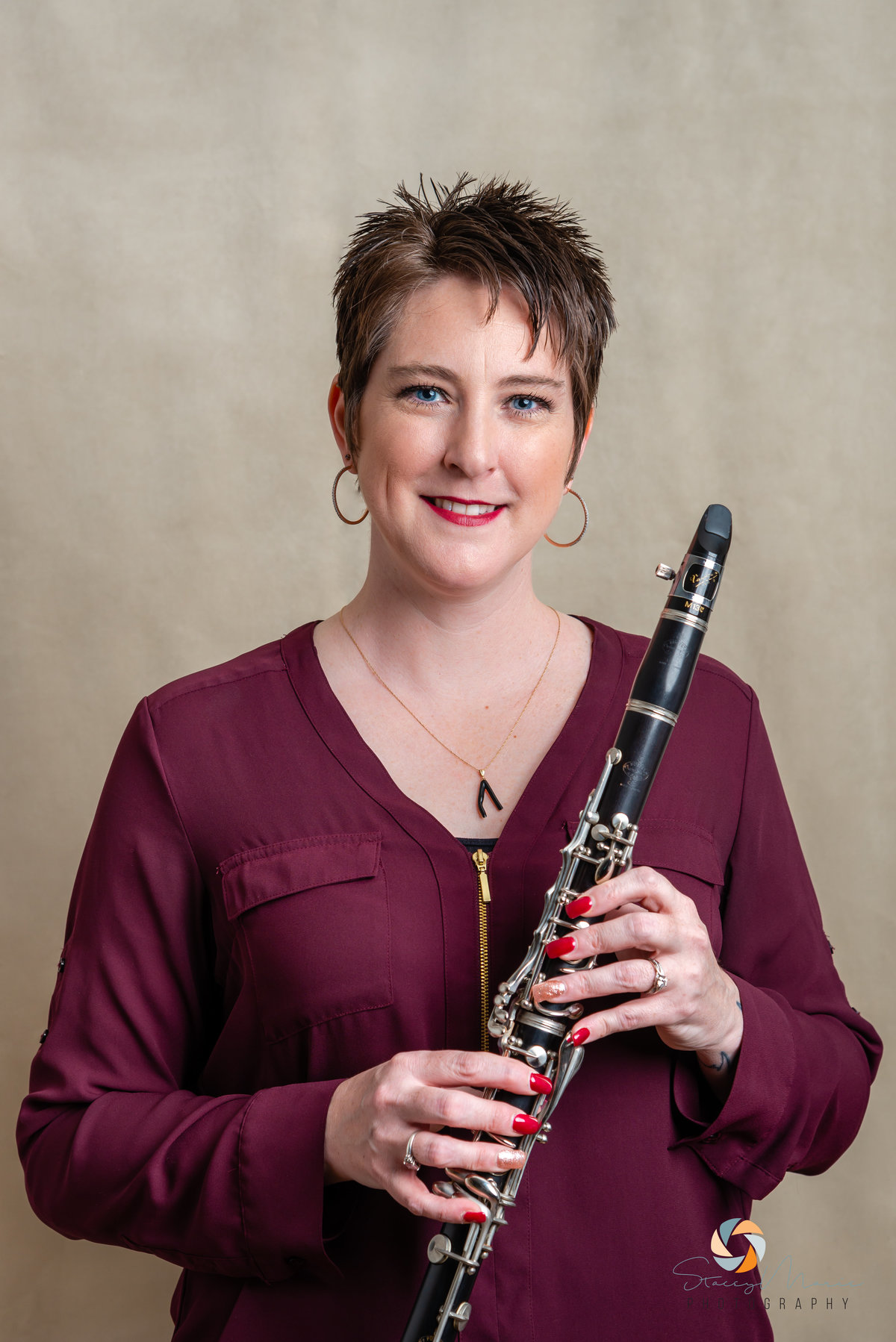 Headshot of a musician with a clarinet