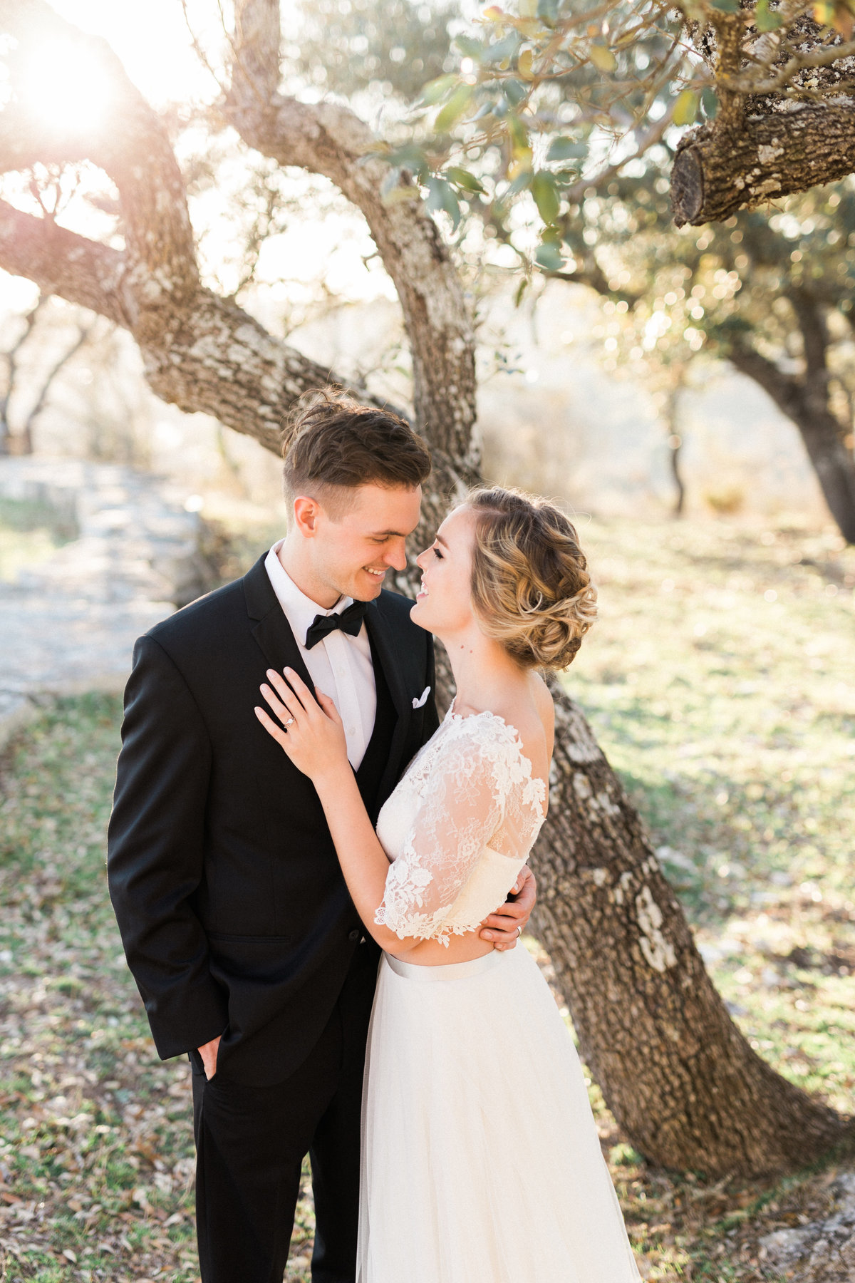 Bride and Groom- Golden hour- hill country texas