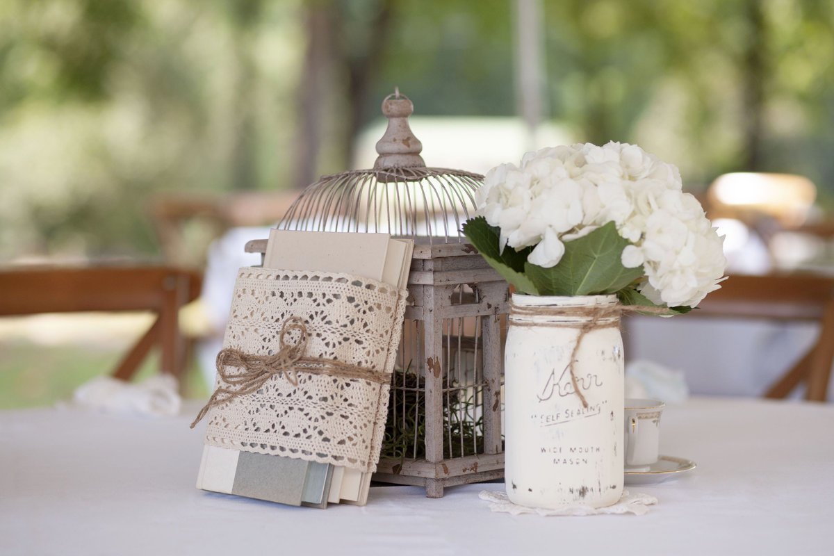 Wedding table decorations mason jar bird cage and  books