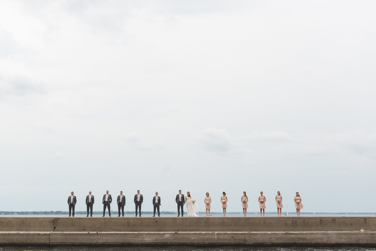 Wedding party in a row standing on the pier at by the water