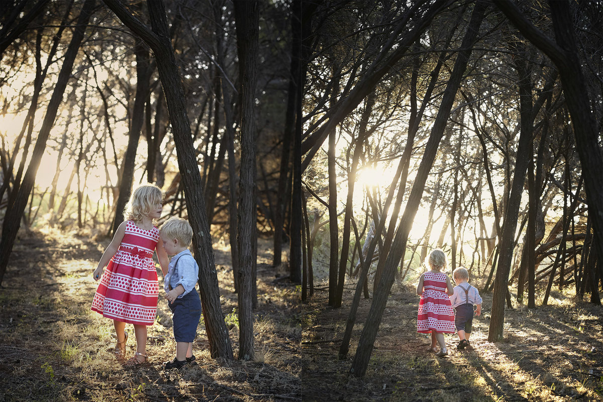 Two photos of a girl and boy walking hand in hand in the woods and sunlight peeping through the trees