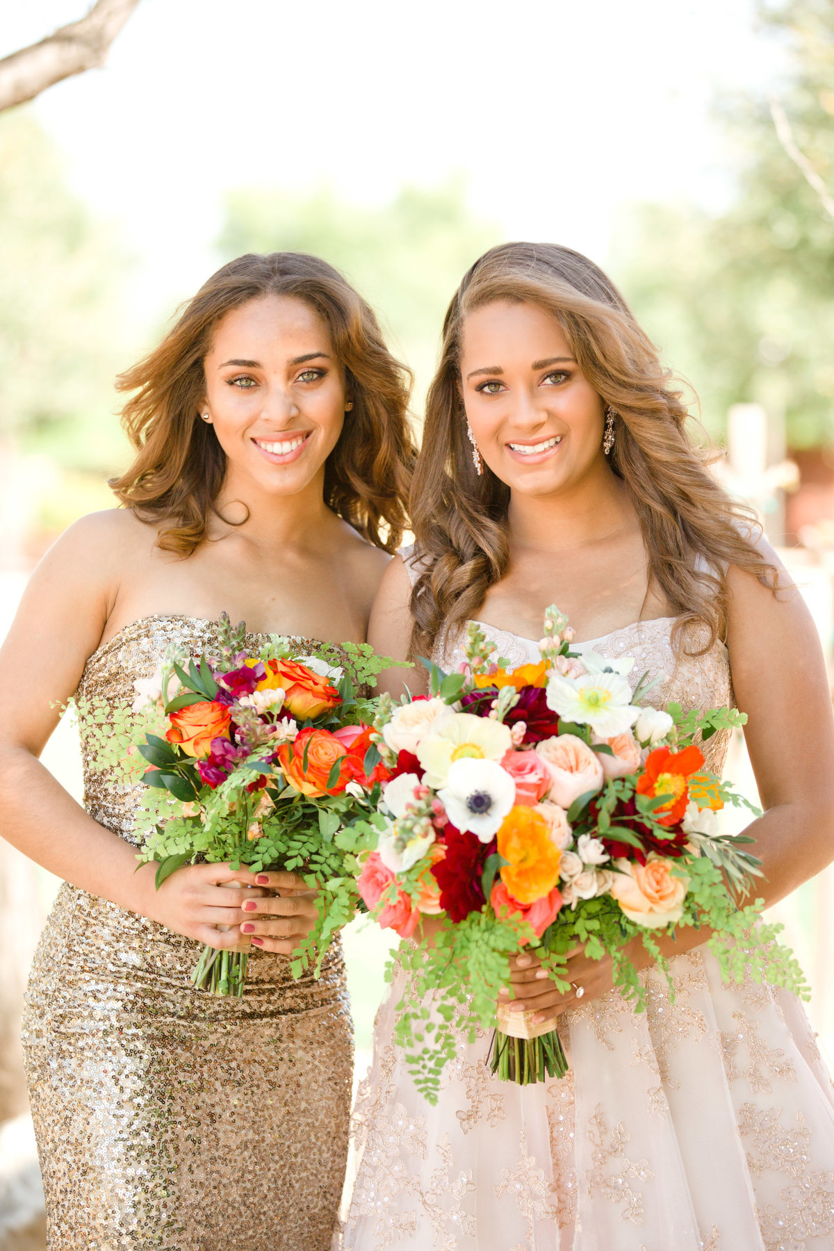 bridesmaids portrait in rose gold bridesmaids dresses