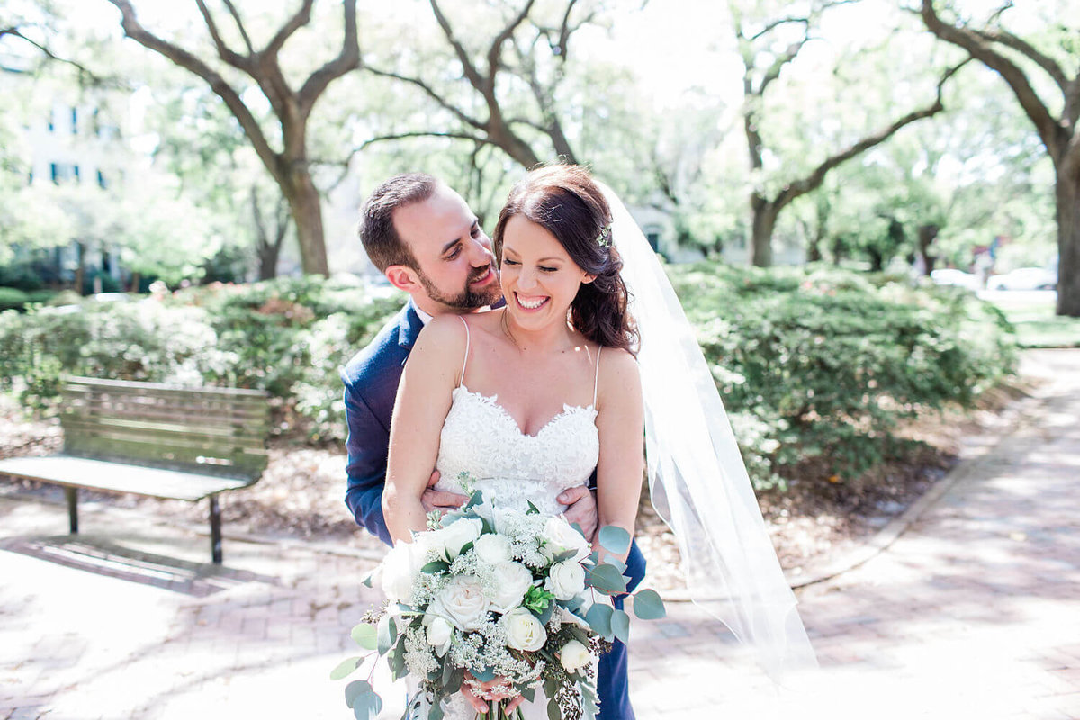 Bride and groom portraits in Savannah by Apt. B Photography