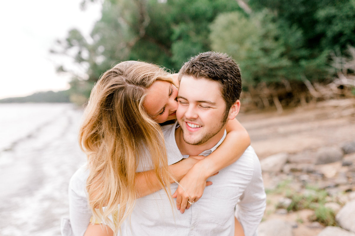 Beach Engagement Photos by Minnesota Wedding Photographer -Piggyback Pose