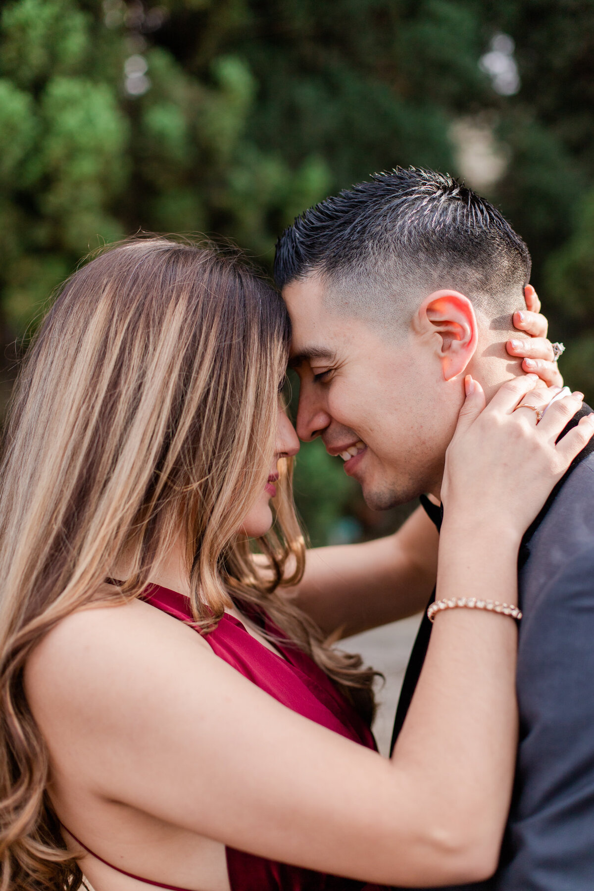 UC Riverside Botanical Gardens, Engagement Photography, Riverside Phototgrapher, Garden Engagement, Couple Photography, Red Dress-77