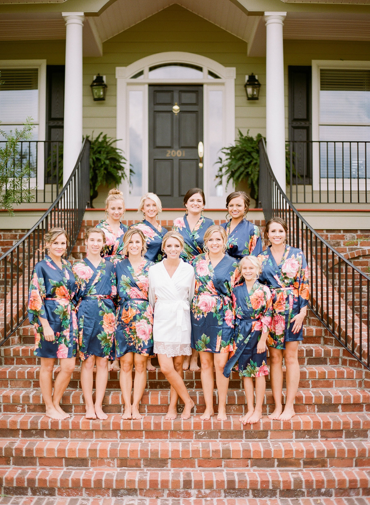 Bride Alexis and Bridesmaids in Navy Blue Floral Robes Getting Ready Charleston Wedding