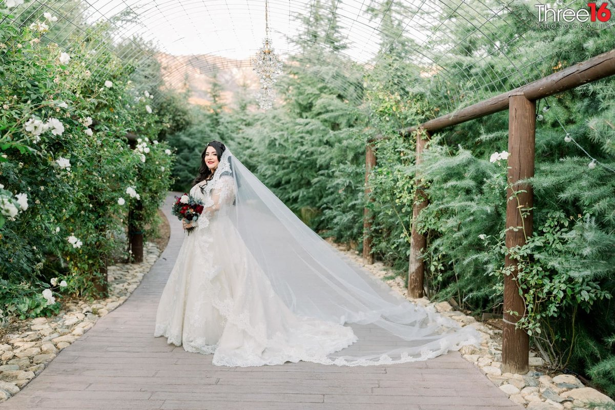 Bride poses for photographer with her veil flowing in the wind
