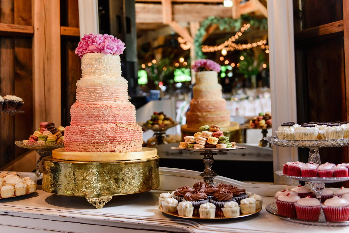 ombre wedding cake, cupcakes and macaroons for wedding dessert table