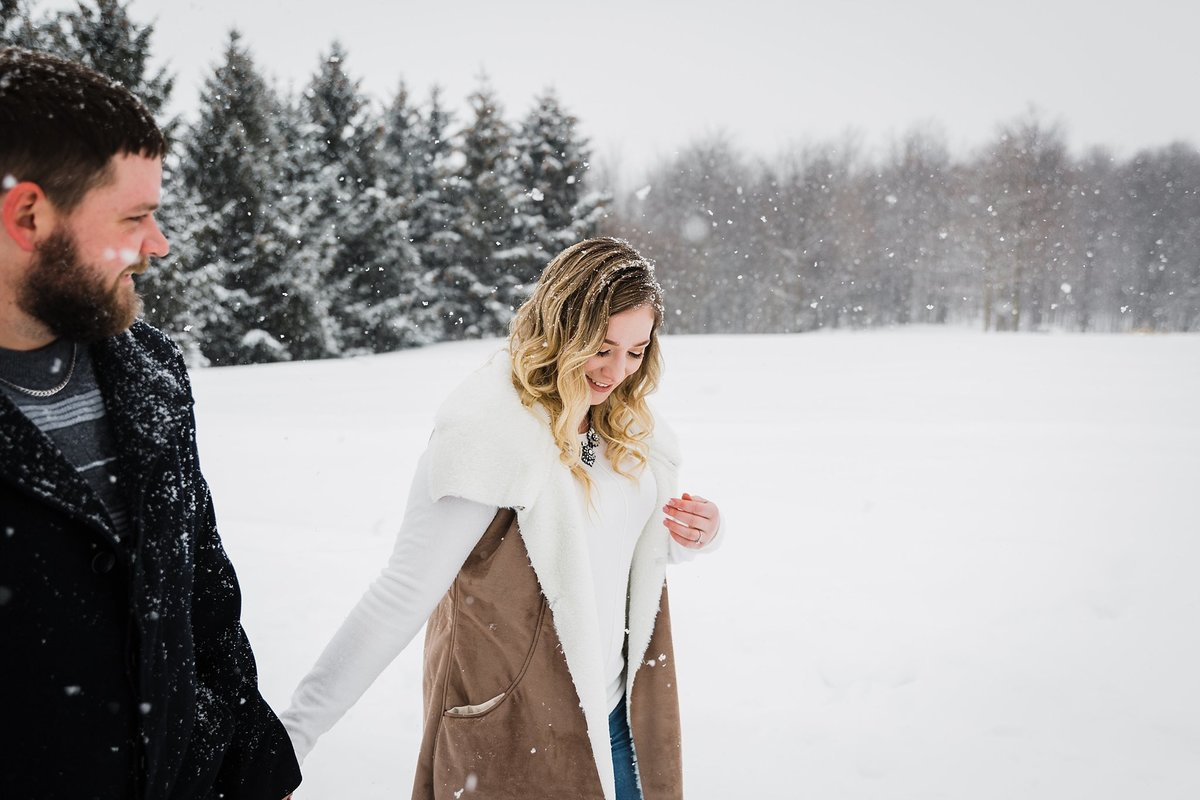 Snowy Winter Wonderland Engagement Session in Hensall, Ontario by Dylan and Sandra Photography