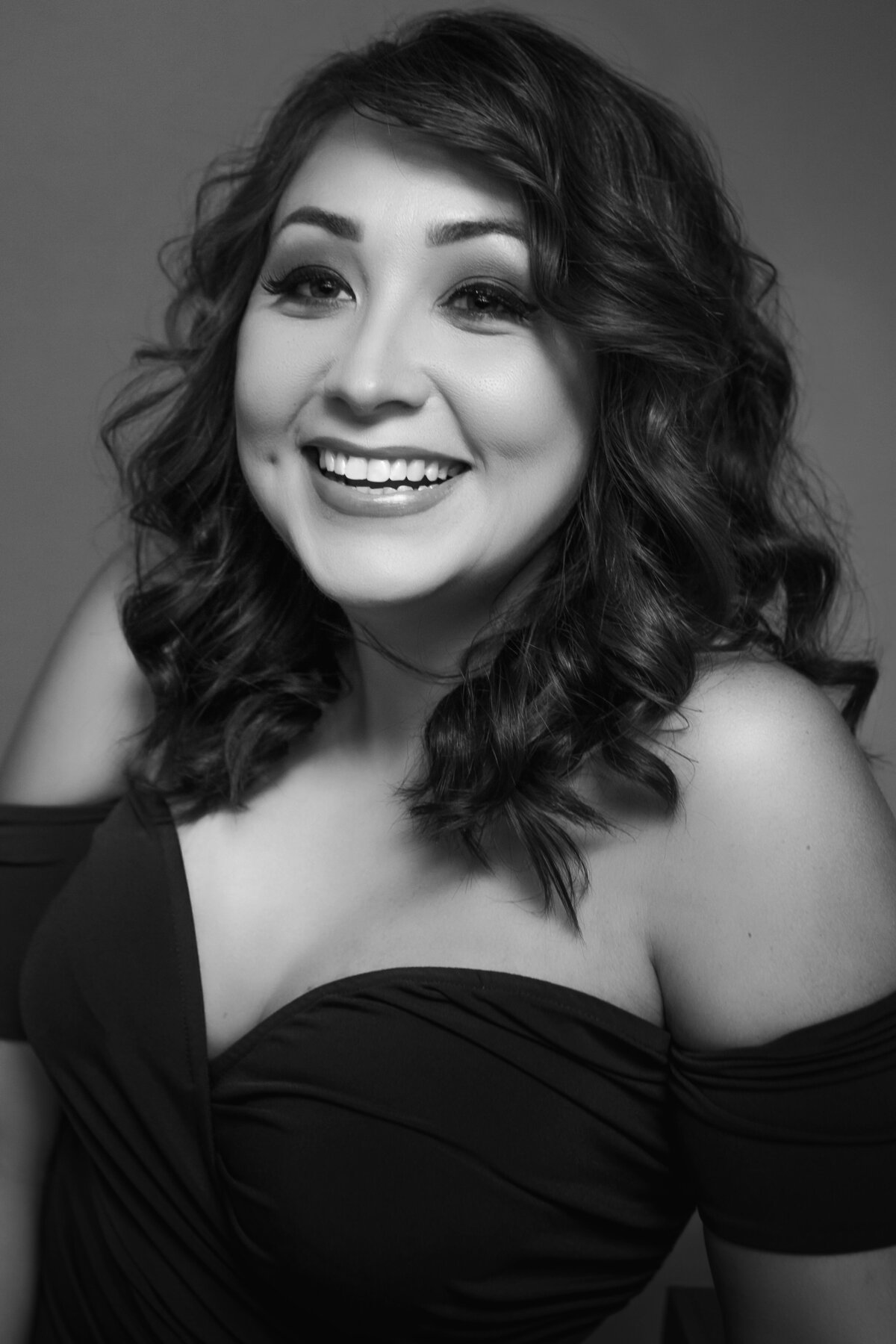 garland texas glamorous beauty portrait black and white photography for woman smiling and laughing