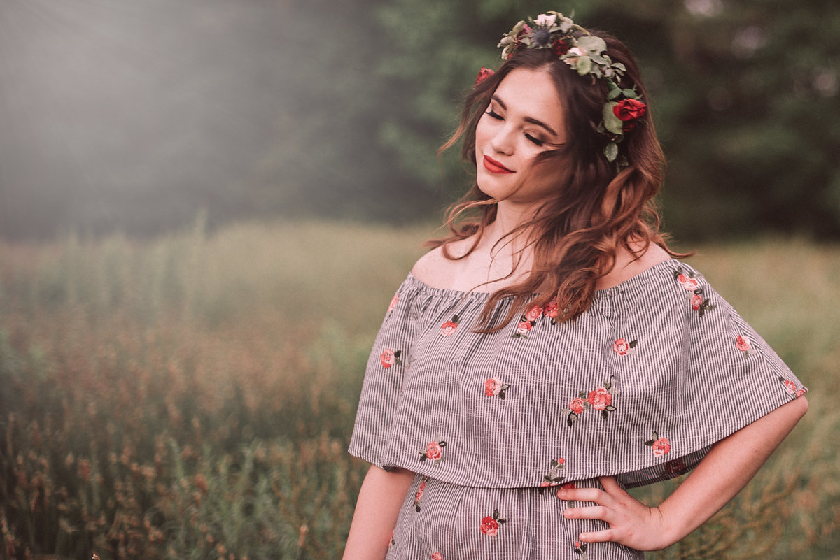 boho senior photography with floral crown in kennesaw, ga