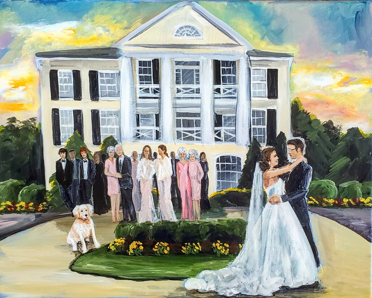 Live painting of a bride and groom sharing their first dance outside the Inn at Willow Creek in Orange Virginia