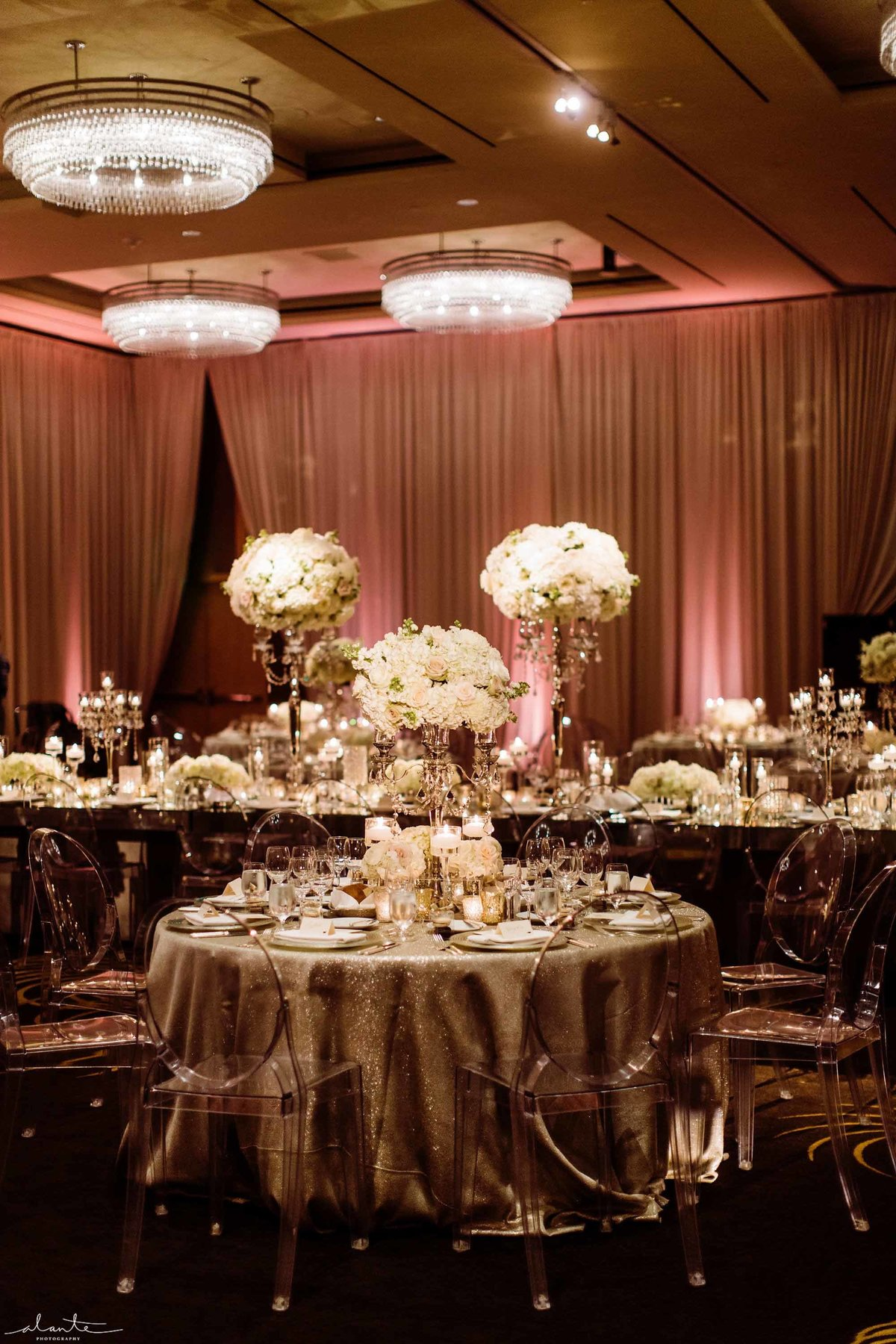 Elegant glamorous ballroom wedding designed by Flora Nova Design.