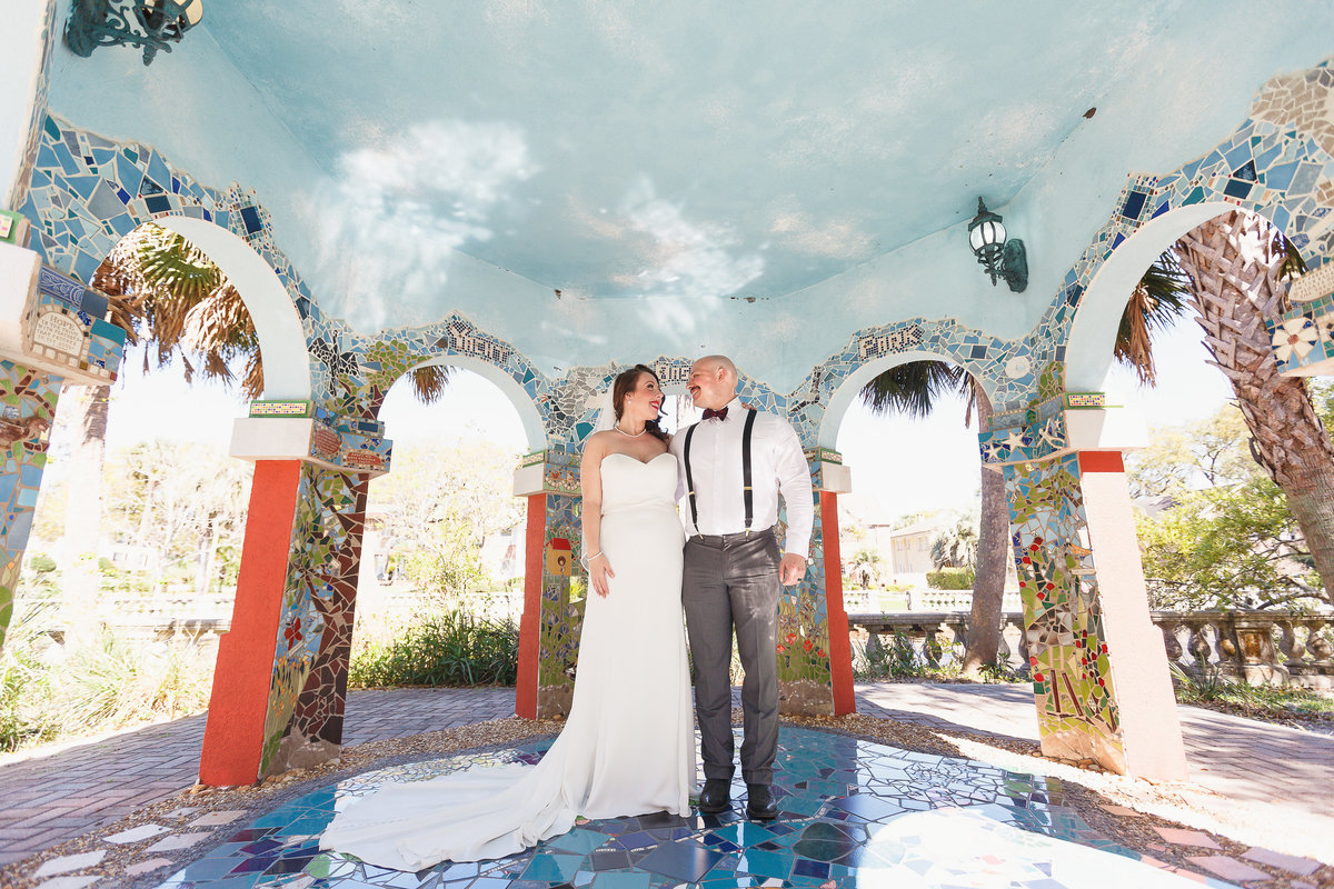 Bride and Groom Inside a Structure with Arches and Mosaic Tiles at their Riverside Jacksonville Florida Wedding Photo Session