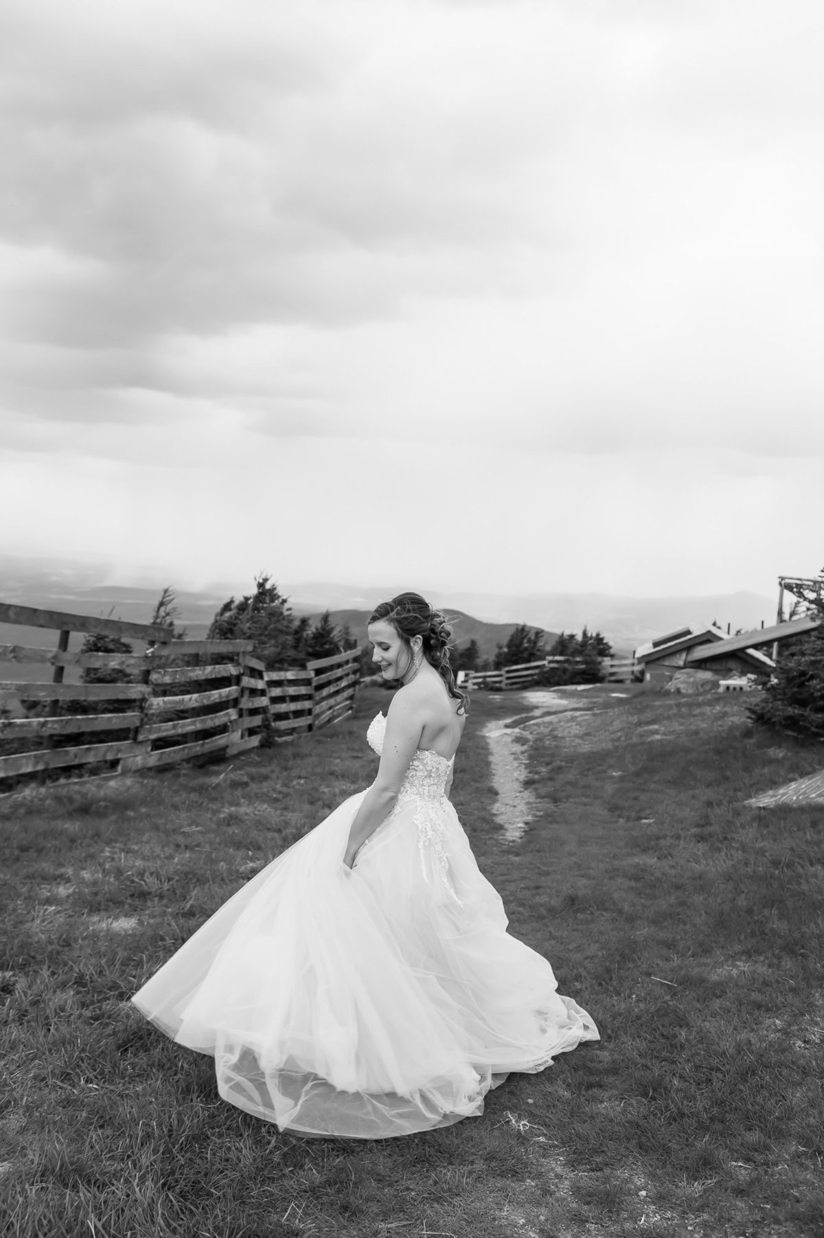 black and white bridal portrait at Jay Peak Resort at Elevation 4000 by Kat Mooney Photography