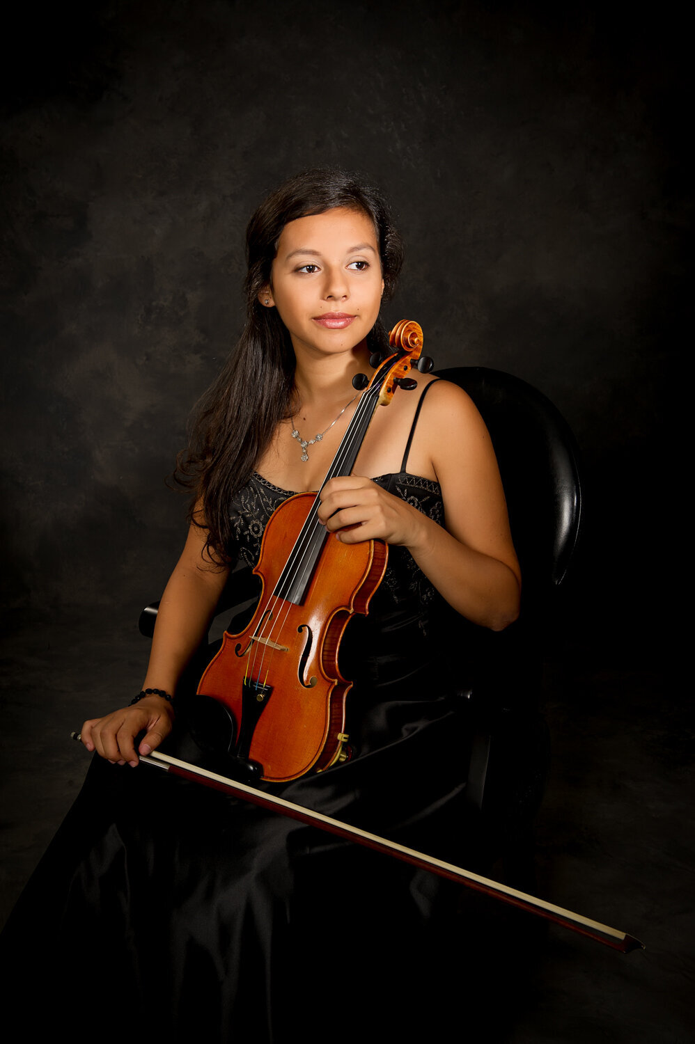 formal portrait senior girl with violin
