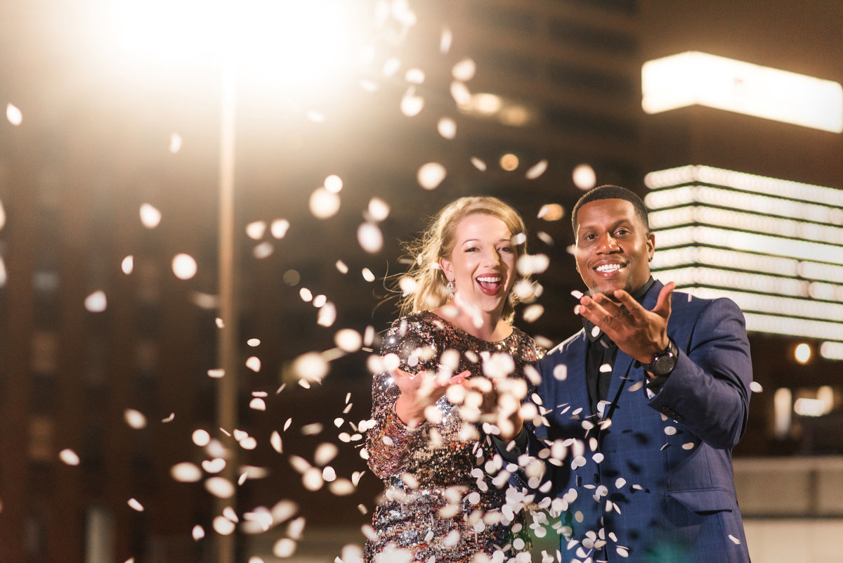 new years themed rooftop engagement session