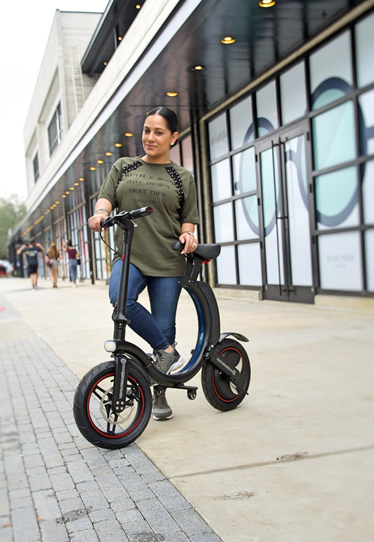 Lady showing off her Black Go-Bike Q1