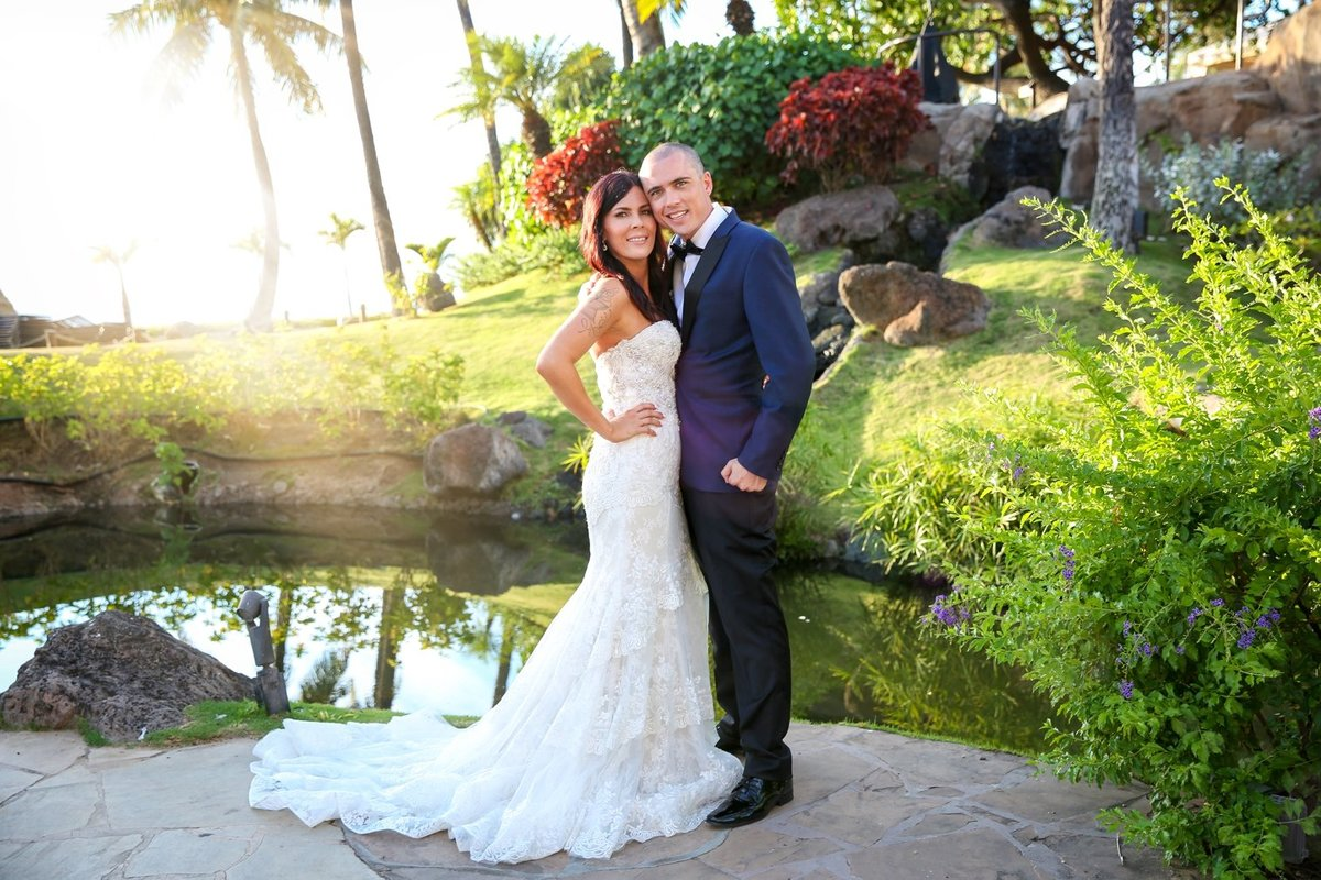 Capture Aloha Bride and Groom at the beautiful garden with pond and sunset