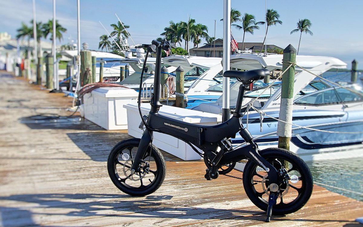 Black Go-Bike M4 on the boat pier