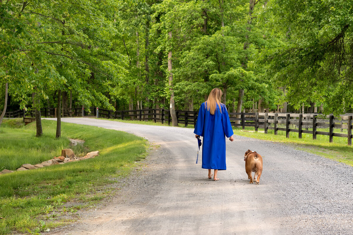 senior girl cap and gown dog senior photos