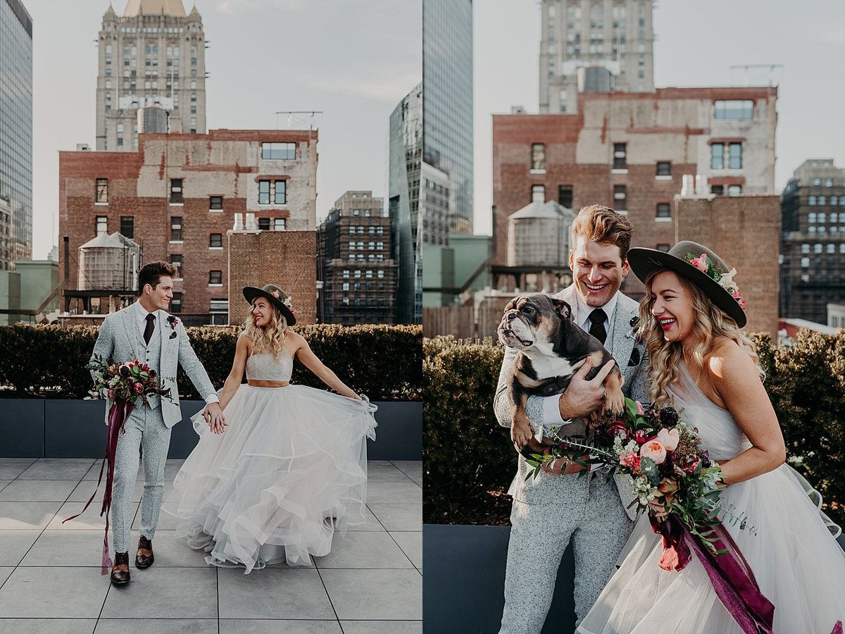 Hayley Paige and Conrad Louis walk on a rooftop holding hands in NYC