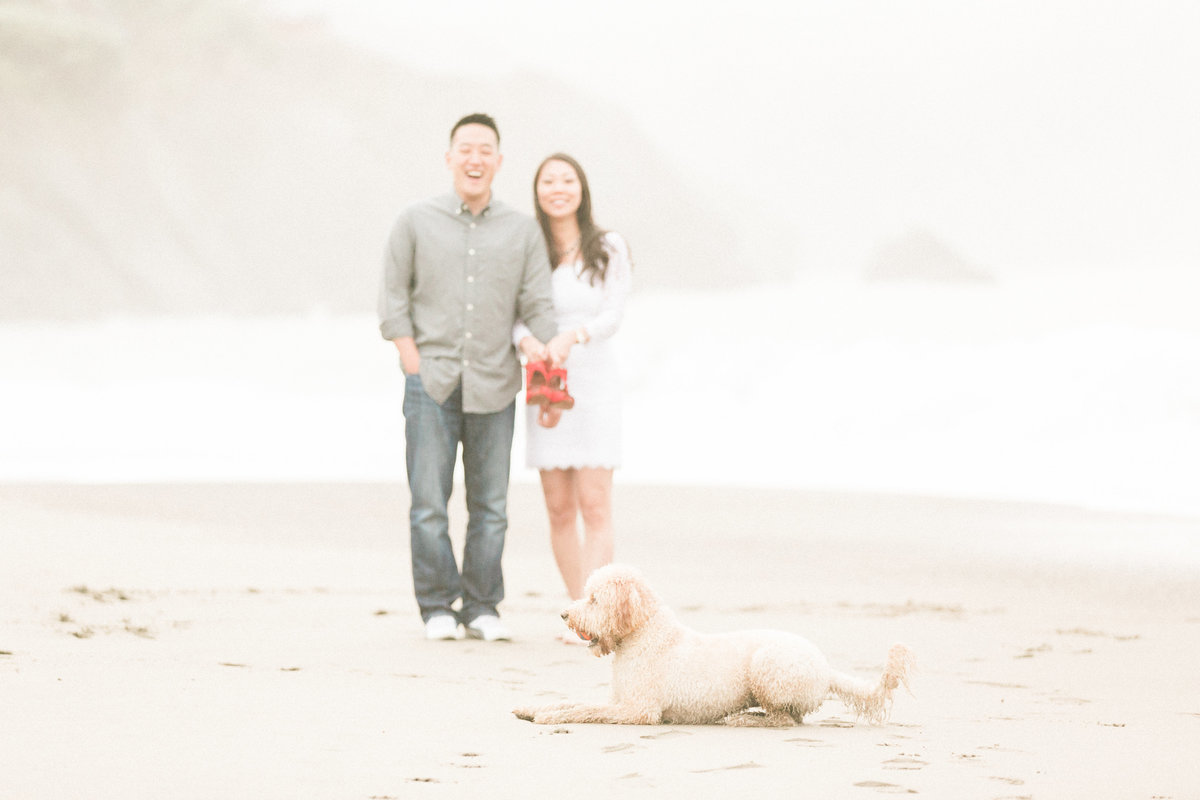 Couple Portraits with Dog Baker Beach SF