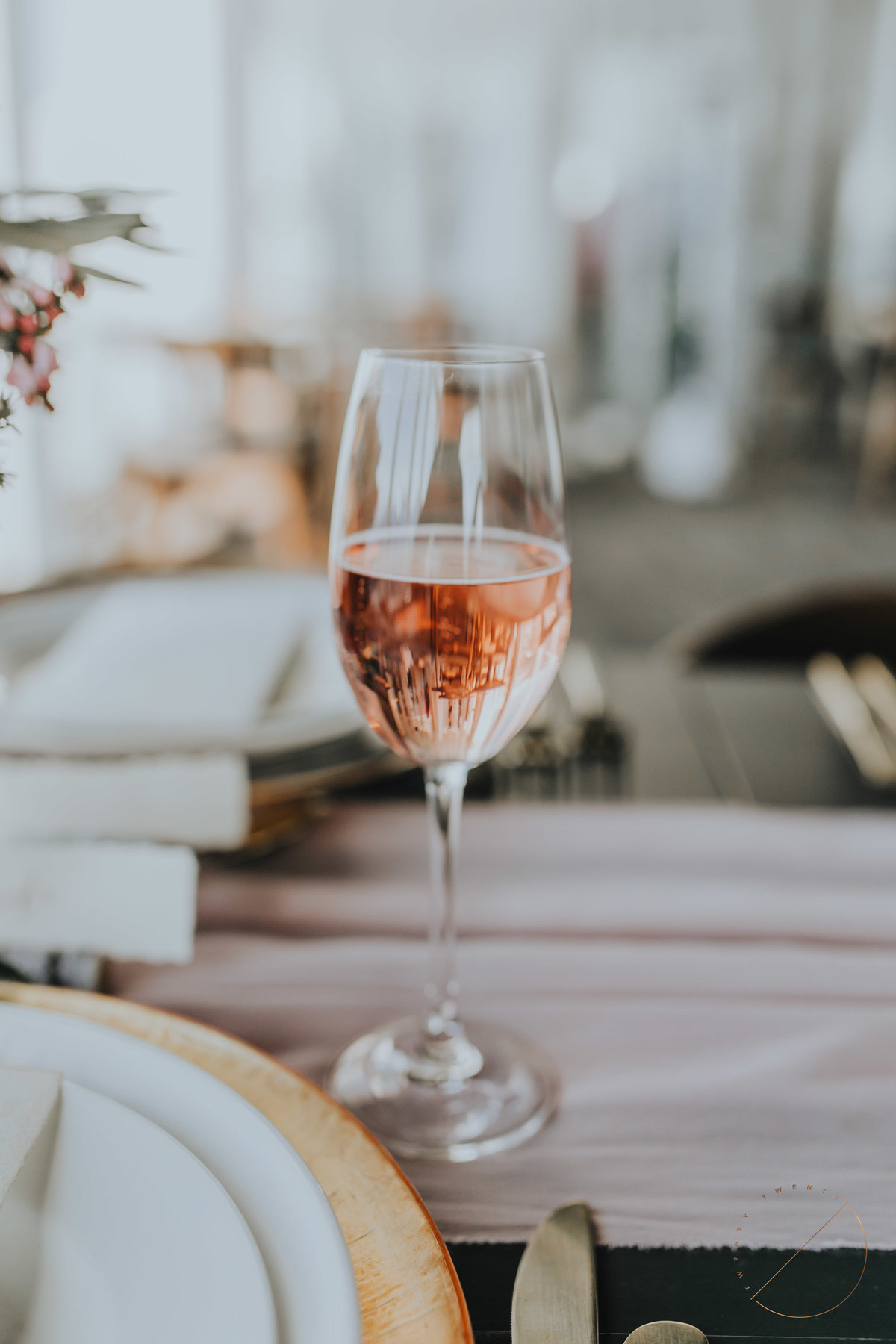 Evolve winery pink effervescence sparking wine in Sky Bistro at top of Sulphur Mountain, photo captured by Twenty Twenty Photography