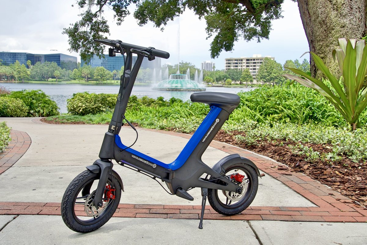 Blue Go-Bike M3 in front of Lake Eola; V&D Electric Bikes