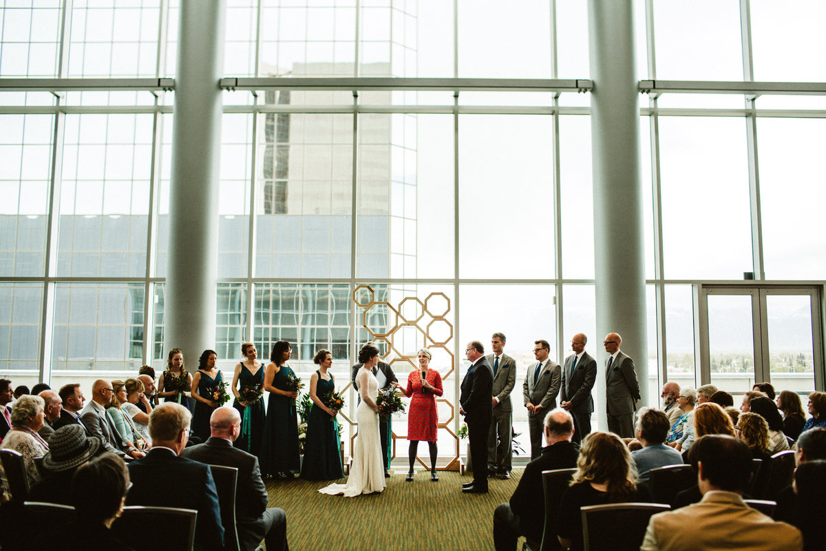 wide shot of urban wedding ceremony at dena'ina center