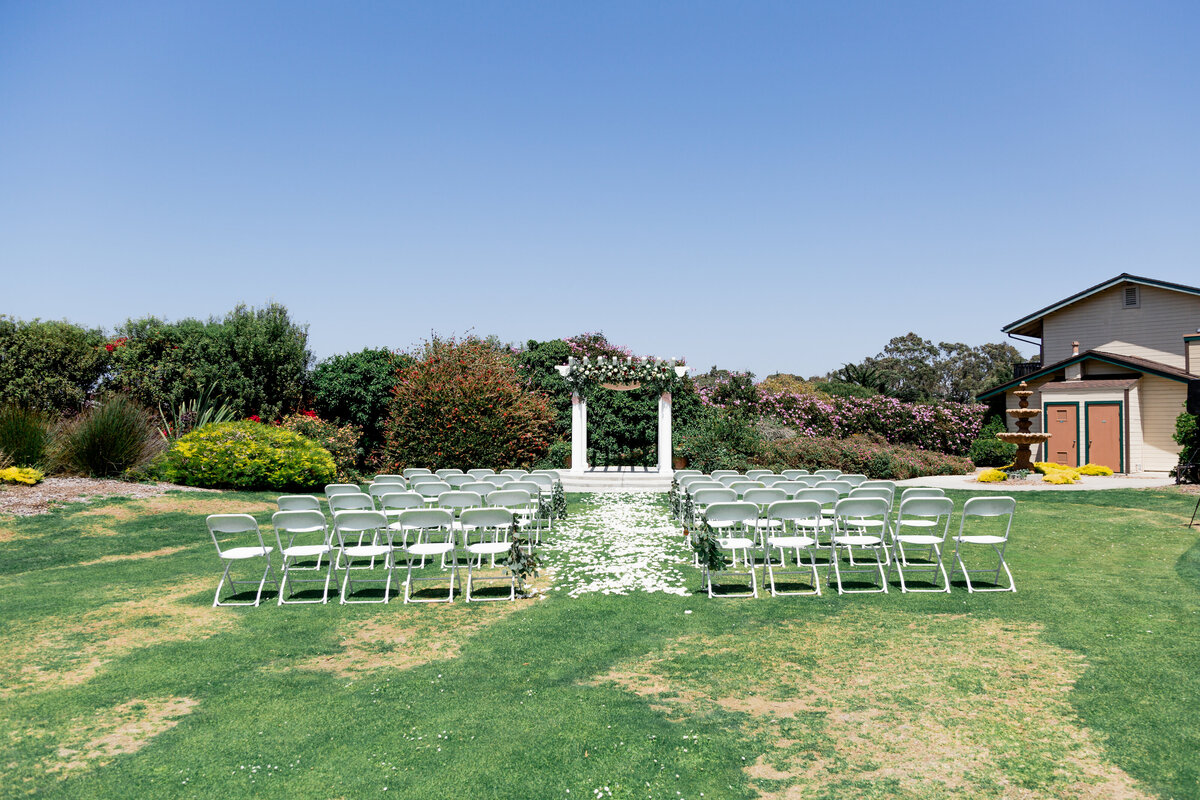 wedding ceremony site with chairs