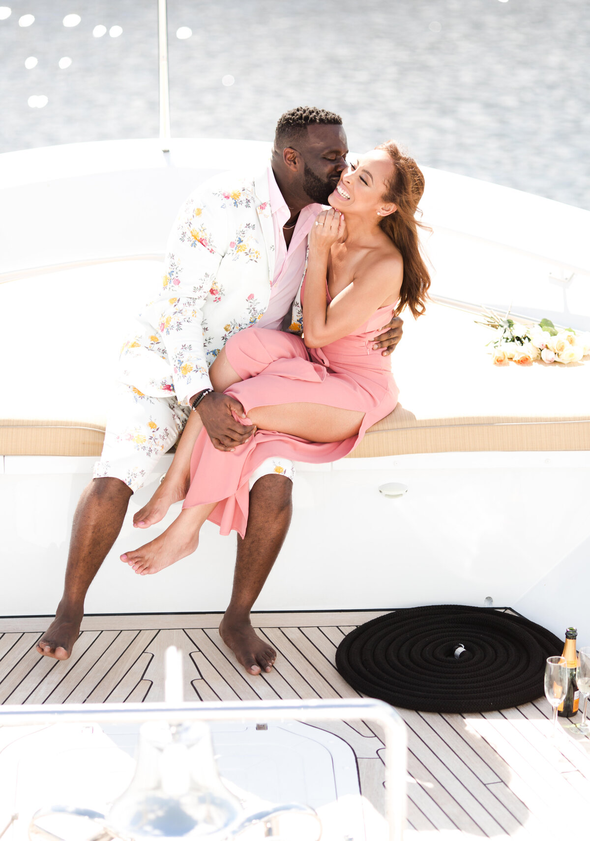 Engagement photo session in a Yacht