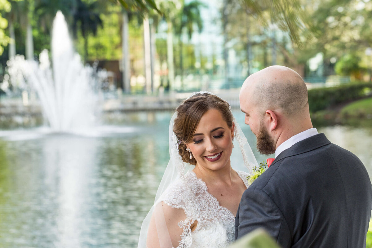 Newlywed couple in Boca Raton Florida by Miami Wedding Photographer | White House Wedding Photography